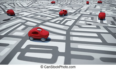 3D Rendering cars toy on street map