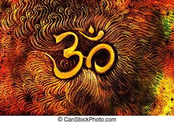 golden om symbol emanating light, illustration on abstract...