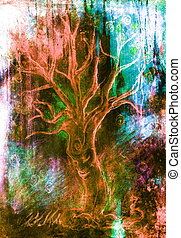 drawing of a spiritual tree with face on abstract background