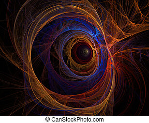 Abstract fractal background, colorful rainbow tunnel - Dark...