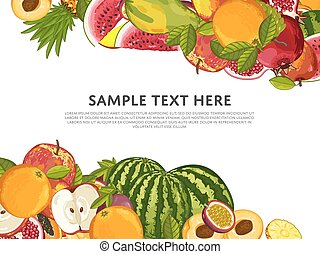 Fruit mix with leaves on white background