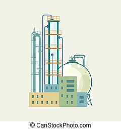 Industrial Chemical Plant Isolated , Refinery Processing of...
