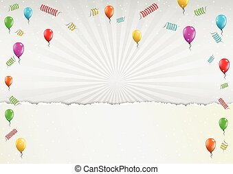 celebration balloons and torn paper