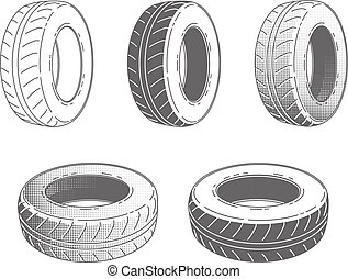 Car tire rubber wheel set of vector illustration service...