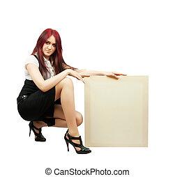 girl in holds an empty poster - elegance brunette in little...