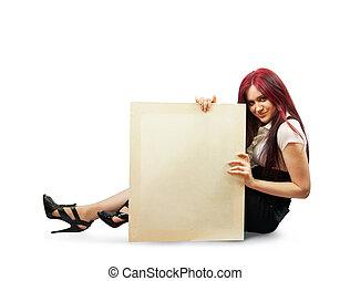 girl holds an empty poster - elegance brunette in black...