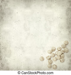 textured old paper background with shelled hazelnut