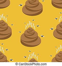 Shit isometric seamless pattern. Turd and fly texture....