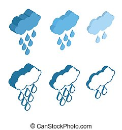 Cloud Isometric icon for Meteo applications. Weather rain.