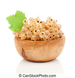 white currant fruit in wood bowls, over white background.