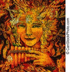 forest fairy shaman with panflute and crystal, detailed...
