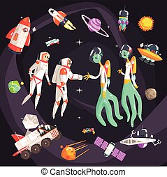 Astronauts Shaking Hands With Extraterrestrial Beings In Space Surrounded By  Travel Related Objects
