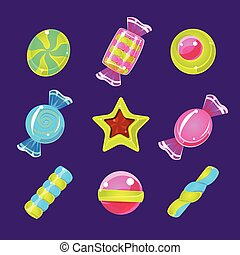 Hard Candy Colorful Simplified Icons Set - Hard Candy...