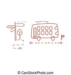 Double Decked Bus With The Dotted Line Route Hand Drawn...