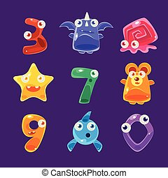 Digit Shaped Animals And Other Jelly Creatures Set