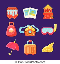 Travelling Related Objects Colorful Simplified Icons -...