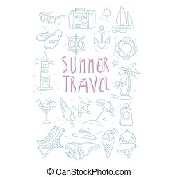 Summer Travel Related Object Set With Text Hand Drawn Simple...