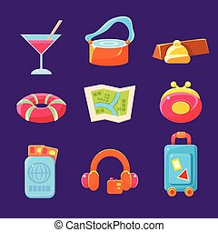Travel Related Objects Colorful Simplified Icons - Travel...