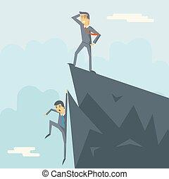 Achievement Top Point Goal Businessman Characters Symbol...