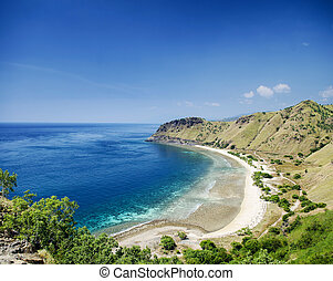 tropical paradise cristo rei beach near dili east timor asia...
