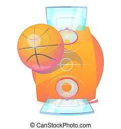 Basketball eight-panel flying orange ball with light bleak...