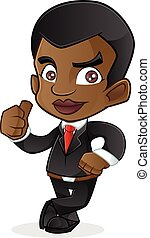 Black Business Man Leaning - Young Black Business Man...