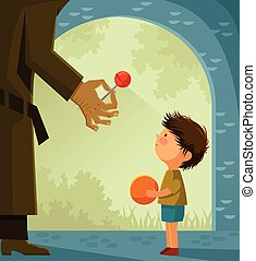 Stranger danger - Suspicious stranger offers candy to a...