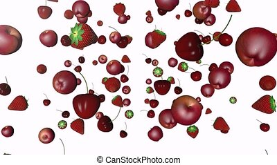 Different fruits - Apples cherries and strawberries in a...