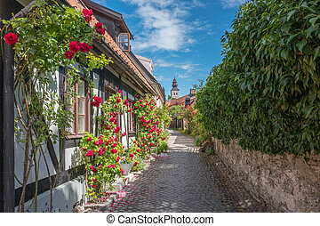 Medieval Hanse town Visby in Sweden - Medieval alley in the...