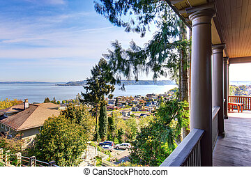Amazing water view from the balcony of Luxury brick house.