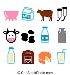 Milk, cheese production, cow icons - Farm animals - cows...