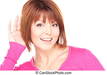 gossip - bright picture of lovely woman listening gossip