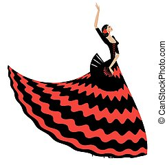 woman flamenco with black fan