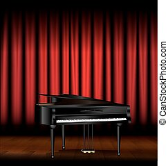 piano and red drape