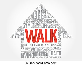 WALK arrow word cloud, health concept