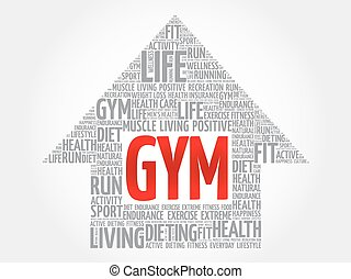 GYM arrow word cloud, health concept