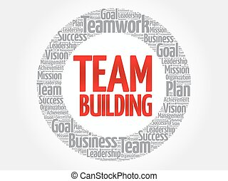 Team Building circle word cloud, business concept