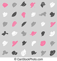Seamless pattern with flat icons of headwear Pattern for...