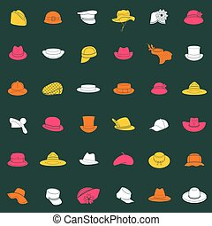 Seamless pattern with flat icons of headwear. Pattern for...