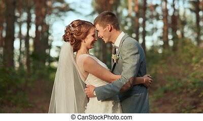Wedding couple at forest - Bride and groom in forest
