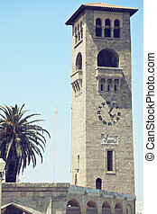 The clocktower closeup - The clocktower at Mandraki harbour,...