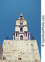 Roloi clocktower with knights in the Rodos, Greece. Toned...