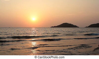 Sunset on the Beach in Goa - Sunset on the Palolem Beach in...