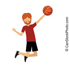 male athlete practicing basketball  isolated icon design