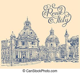 original digital drawing of Rome Italy cityscape with...