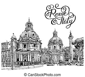 black and white digital drawing of Rome Italy cityscape with...
