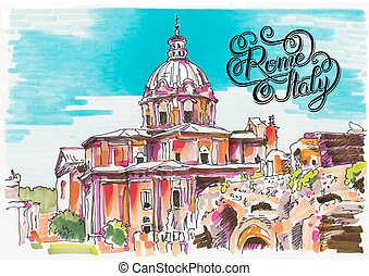 original marker painting of Rome Italy cityscape with hand...