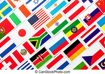 Background of different colorful national flags of the world. Collage
