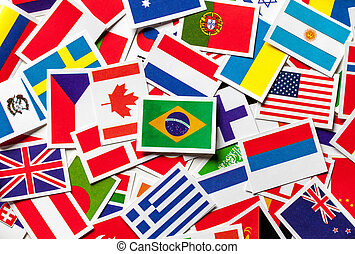 National flags of the different countries of the world in a...