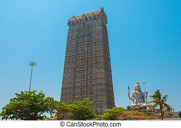 Statue of Lord Shiva in Murudeshwar. The Raja Gopuram Tower....
